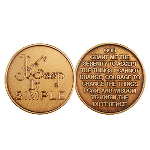 Keep It Simple - Bronze AA (Alcoholics Anonymous) -ACA-AL-ANON - Sober / Sobriety / Affirmation / Birthday / Anniversary / Desire / Recovery / Medallion / Coin / Chip