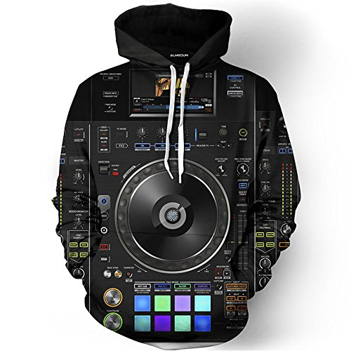 ALMOSUN DJ Music Technics Turntable 3D All Over Printed Hoodie (Turntable 3d compare prices)