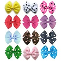 HipGirl 12pc 3.5 Wide Pinwheel Hair Bow Clip--Dots n Solid- One Size. In Gift Box. Colors Might be Different from Image Shown