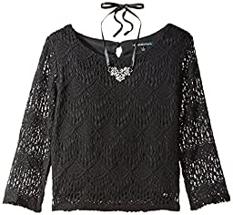 My Michelle Big Girls\' Long Sleeve Lace Top with Necklace and Keyhole Back, Black, Medium