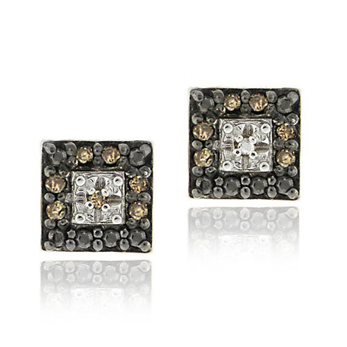 Sterling Silver .13ct. TDW Champagne Diamond Square Stud Earrings