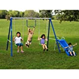 Metal Swing Sets with Slide For Kids 2-12 y.o. Outdoor Fun Play, Backyard Playground Equipment Kit on Sale Clearance by Flexible Flyer