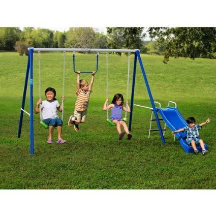 Metal Swing Sets with Slide For Kids 2-12 y.o. Outdoor Fun Play, Backyard Playground Equipment Kit on Sale Clearance by Flexible Flyer (Slides Backyard compare prices)