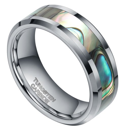 8Mm Tungsten Carbide Rings Abalone Shell Inlay For Men Women Unisex Comfort Fit (12)