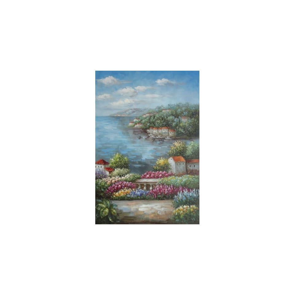 Mediterranean View from a Flower Garden 36x24 Inch