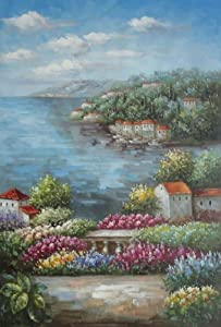 Mediterranean View from a Flower Garden Large Oil Painting 36x24 Inch, Unstretched/Unframed