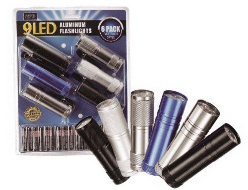 Think Tank Technology 6 Pack Of Aluminum 9-Led Flashlights With Batteries