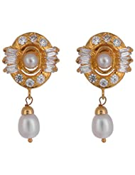 Chandrika Pearls' Gold Plated American Diamond Earring With Fresh Water Real Pearl Drop For Women