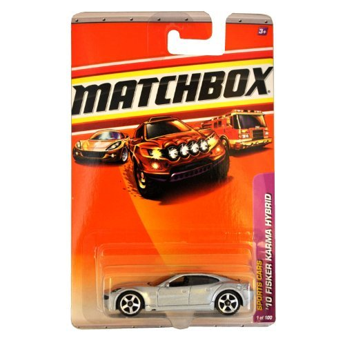 Matchbox 2010-1/100 Sports Cars '10 Fisker Karma Hybrid SILVER 1:64 Scale - 1