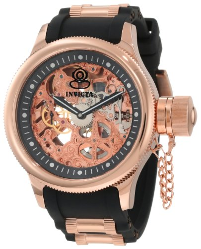 Invicta Invicta Men's 1090 Russian Diver Mechanical Skeleton Dial Black Polyurethane Watch