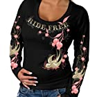 Hot Leathers Cherries Scoopneck Ladies Long Sleeve Tee (Black, Large)