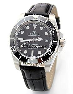 20mm Classic Black Crocodile Grain Leather Watch Strap For Rolex Sea Dweller