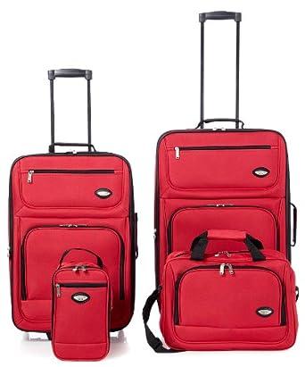 Hercules Jetlite 4pc Raspberry Upright Luggage Set One Size Red