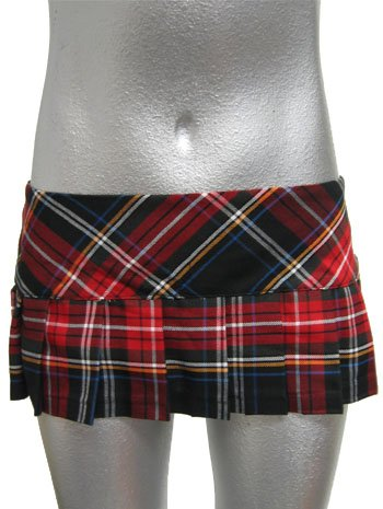 Red Hot School Girl Plaid Micro Mini Skirt
