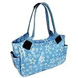Damen Mädchen Rot Blaue Einkaufsttasche Schultertasche Öltuch Stern Muster
