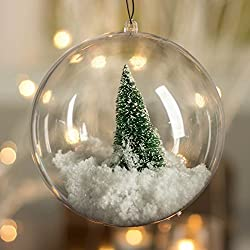 Plastic Ball Ornament, 80mm, Clear , Pack of 12 (80 mm) (80mm)