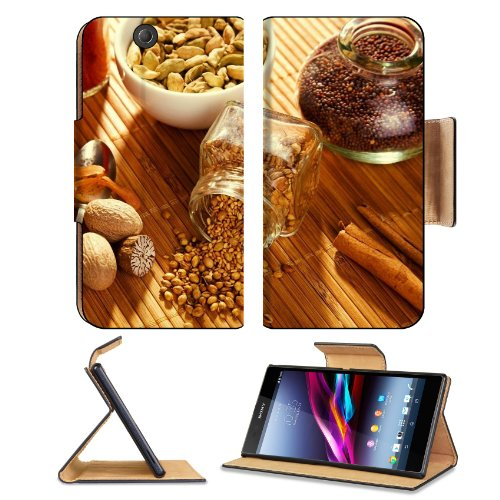Spices Herbs Coriander Curry Nutmeg Nuts Table Pots Spoon Sony Xperia Z Ultra Flip Case Stand Magnetic Cover Open Ports Customized Made To Order Support Ready Premium Deluxe Pu Leather 7 1/4 Inch (185Mm) X 3 15/16 Inch (100Mm) X 9/16 Inch (14Mm) Liil Sony