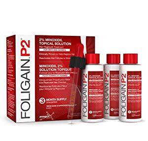 FOLIGAIN.P2 ® 2% MINOXIDIL LIQUID for Hair Regrowth, 3 months supply