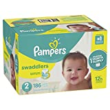 Pampers Swaddlers Disposable Baby Diapers Size 2, 186 Count, ONE MONTH SUPPLY