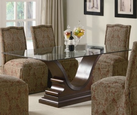 Cheap SLAUSON GLASS TOP DINING TABLE SET 7 PIECE FABRIC CHAIRS (B006L8PWZ8)