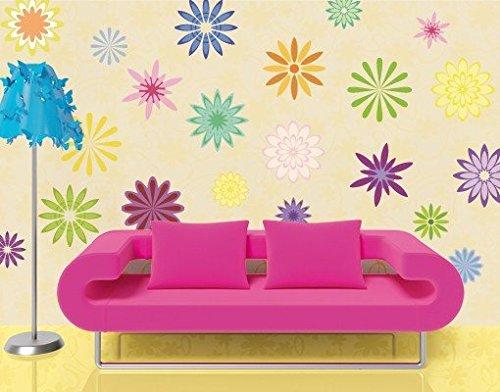 wandtattoo no fb19 dekorative bl mchen blumen floral ornament farbig bunt. Black Bedroom Furniture Sets. Home Design Ideas