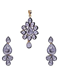 Gehna Cubic Zircon Pear Stone Studded Pendant & Earrings Set With Yellow Gold Rhodium