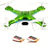 QCopter QC1 Drone Quadcopter with HD Camera LED Lights Green Drones BONUS BATTERY 2X FlightTime