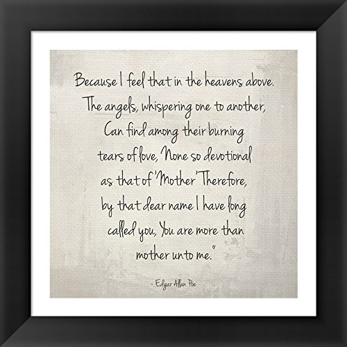 More Than Mother by Edgar Allan Poe by Veruca Salt Framed Art Print Wall Picture, Black Frame with Hanging Cleat, 14 x 14 inches (Edgar Salt compare prices)