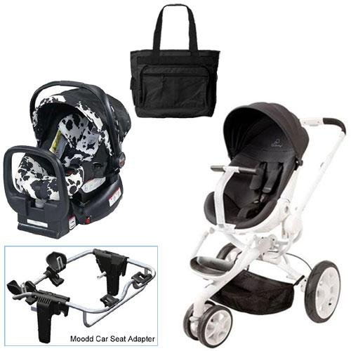 Quinny Black Irony Moodd Travel System with Britax Cowmooflage Car Seat Diaper Bag
