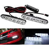 iJDMTOY Xenon White Universal Fit 6-LED High Power LED Daytime Running Lights (DRL Kit)