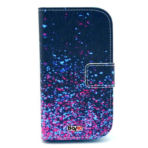 Bayke Brand / Samsung Galaxy S3 Mini (Mini Only) I8190 Fashion Pu Leather Wallet Flip Protective Skin Case With Stand With Credit Card Slots & Holder (Abstract Lights Sparkles Print)