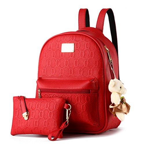 yaagle Emboss PU casual collegio Borsa a tracolla da donna con orso decorazioni Zaino + Borsetta, 2pezzi, rosso (Rosso) - 529107413645-Red