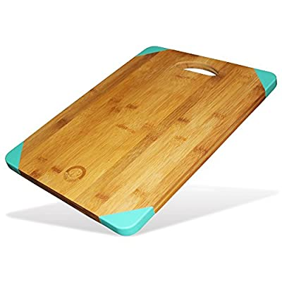 Non Slip Bamboo Wood Cutting Board - Professional Organic Eco Friendly Kitchen Slicing Carving & Chopping Tray - Cheese Plate Serving Platter or Gift - 15.6x11.5x0.7 Inch - Silicone Edge Feet