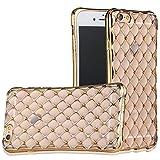 iPhoneSE iPhone5s iPhone5 (ゴールド) ソフト TPU ケース カバー 耐衝撃 衝撃吸収 ダイヤモンドカット ラインストーン きらきら ASG-IPSE-67GD