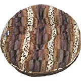 BESSIE AND BARNIE 24-Inch Bagel Bed For Pets, X-Small, Godiva Brown/Wild Kingdom