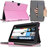 MoKo Slim-Fit Multi-angle Folio Cover Case for Google Nexus 10 Android Tablet by Samsung, Carbon Fiber PINK (with Smart Cover Auto Wake/Sleep Feature)