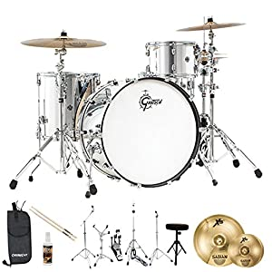Gretsch Drums Rock Catalina Club(CC1-R444-MC-KIT-3) 4 Piece Drum Shell Starter Pack with Hardware & Sabian Cymbals, Mirror Chrome