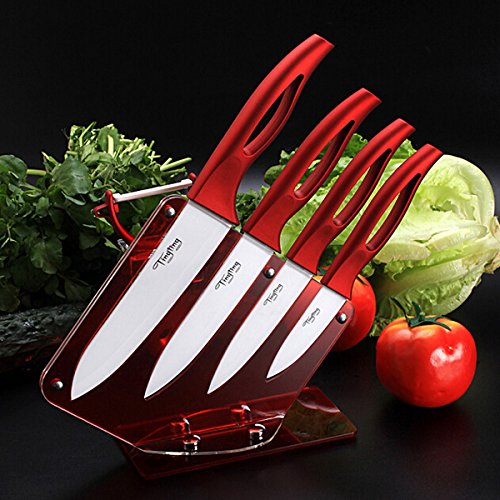 Kitchen Red Ceramic 4 piece Knife Set With Peeler And Acrylic Knife Holder StandMade from zirconium oxide, anti-bacteria, anti-fouling, non-toxic