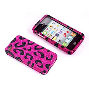 Smile Case Pink Leopard Cheetah Bling Rhinestone Crystal Snap on Full Cover Case for AT&amp;T Verizon Sprint iPhone 4 iPhone 4S (4-Bling Leopard Pink)