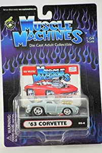 2000 - Funline Co - Muscle Machines - 1963 Chevy Corvette : Split Window - Very Rare Silver - Die Cast Metal - 1:64 Scale - Out of Production - Collectible - Mint - New
