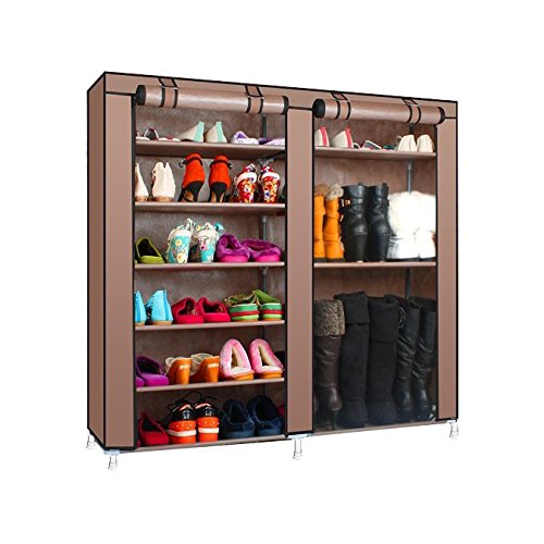 Magshion* Double Style Shoe Boot Closet Rack Shelf Storage Organizer Cabinet Portable- 9 Layer (Coffee) (Shoe Boot Rack compare prices)