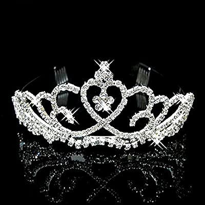 NIPOO Bridal Tiara Wedding Crystal Heart Hair Crown Combs