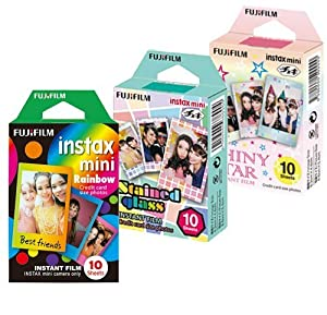 Fujifilm Instax Mini Film Rainbow - Staind Glass - Shiny Star Film -10 Sheets X 3 Assort (Taketori Store Original Goods with Instructions)