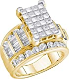 Real Diamond Wedding Engagement Ring 5.00CTW DIAMOND INVISIBLE RING 14K Yellow-gold