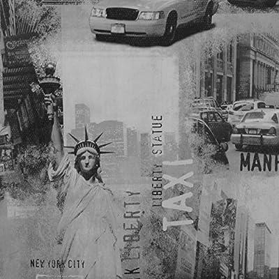 """Wachstuch Tischdecke Wachstischdecke Gartentischdecke, Abwaschbar Meterware, Länge wählbar, """"New York Taxi"""" Schwarz Weiß (635-02) von MODERNO bei Gartenmöbel von Du und Dein Garten"""