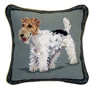 "Wire Fox Terrier Dog Needlepoint Throw Pillow 10"""