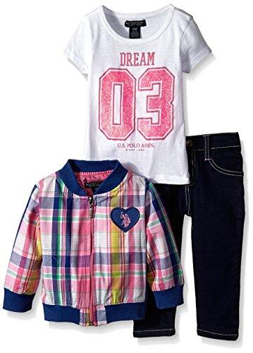 U.S. Polo Assn. Baby-Girls Newborn Bomber Jacket Graphic T-Shirt and Denim Jean, White, 12 Months