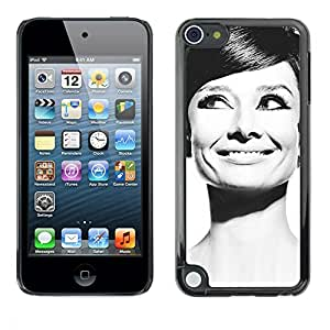 Slim Design Hard PC/Aluminum Shell Case Cover for Apple iPod Touch 5 Audrey Actress Black White Classic Portrait / JUSTGO PHONE PROTECTOR