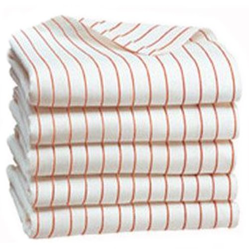 Royal Resort Collection - Set of 2 Luxury Pool / Beach Towels; Pure White with Sunny Orange Stripes
