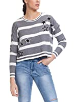 Tantra Jersey Knitted Stripes Pull With Sequins Stars (Gris)